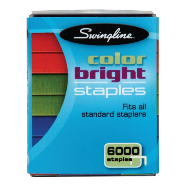"Swingline 35123 105 Strip Count 1/4"" Bright Assorted Color Staples - 6000/Pack"