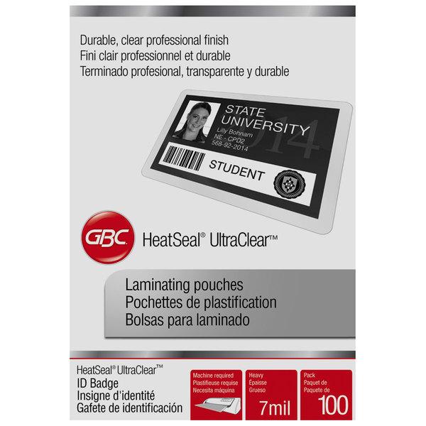 "Swingline GBC 3200016 UltraClear 2 9/16"" x 3 3/4"" ID Badge Thermal Laminating Pouch - 100/Box"