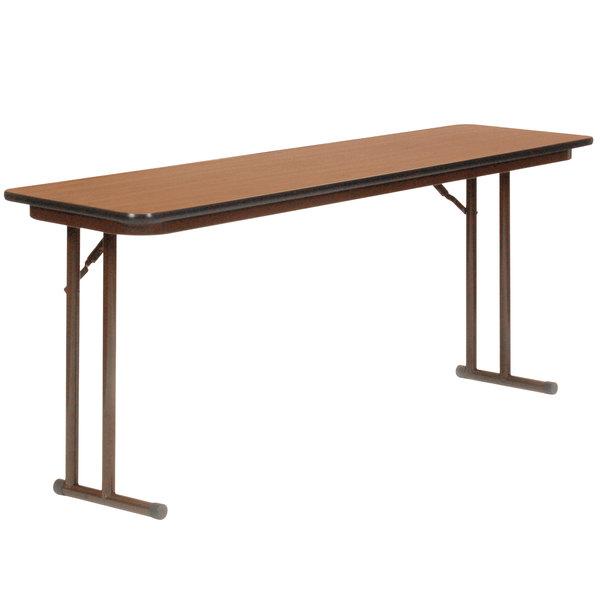 "Correll ST2496PX06 24"" x 96"" Rectangular Medium Oak High Pressure Folding Seminar Table with Off-Set Legs"