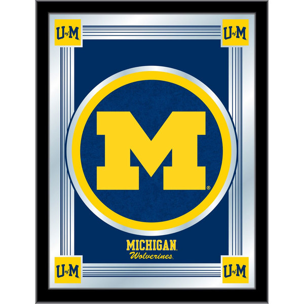 "Holland Bar Stool MLogoMichUn 17"" x 22"" University of Michigan Decorative Logo Mirror"