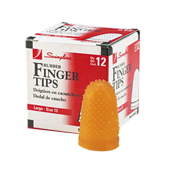 Swingline 54033 Size 13 (Large) Amber Rubber Finger Tip - 12/Pack