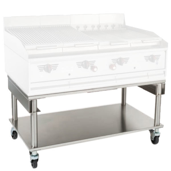 """MagiKitch'n 5225-1512018-C 36"""" x 26 1/2"""" Mobile Stainless Steel Charbroiler Stand with Undershelf Main Image 1"""