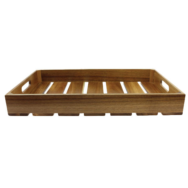 """Tablecraft CRATE12 Gastronorm Acacia Serving and Display Crate - 12 3/4"""" x 10 1/2"""" x 2 3/4"""""""