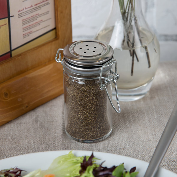 Tablecraft H2S&P 2 oz. Resealable Salt and Pepper Shaker Glass Jar with Stainless Steel Clip-Top Lid Main Image 6