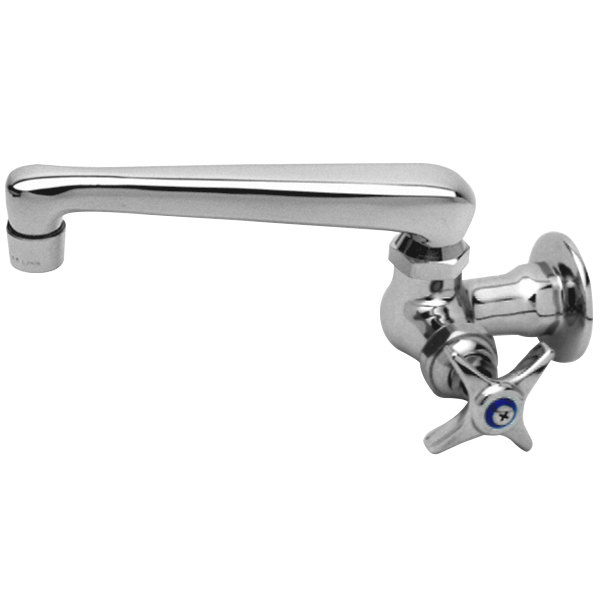 """Hot T&S B-0216 Wall Mounted Single Hole Pantry Faucet with 6"""" Swing Nozzle, Eterna Cartridge, and 4-Arm Handle"""