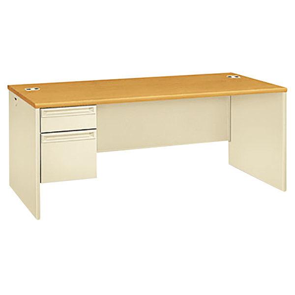 "HON 38294LCL 38000 Series 72"" x 36"" x 29 1/2"" Harvest / Putty Metal 3/4 Height Left Pedestal Desk"