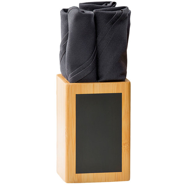 """Tablecraft CHCBS446 4"""" Square Write-On Bamboo Utensil Holder with Chalk Main Image 1"""