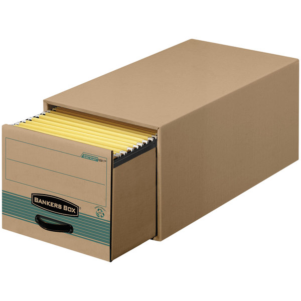 "Bankers Box 1231101 25 1/2"" x 14"" x 11 1/2"" Kraft / Green Letter Sized Heavy-Duty Corrugated Fiberboard Storage Drawer with Steel Frame - 6/Case Main Image 1"