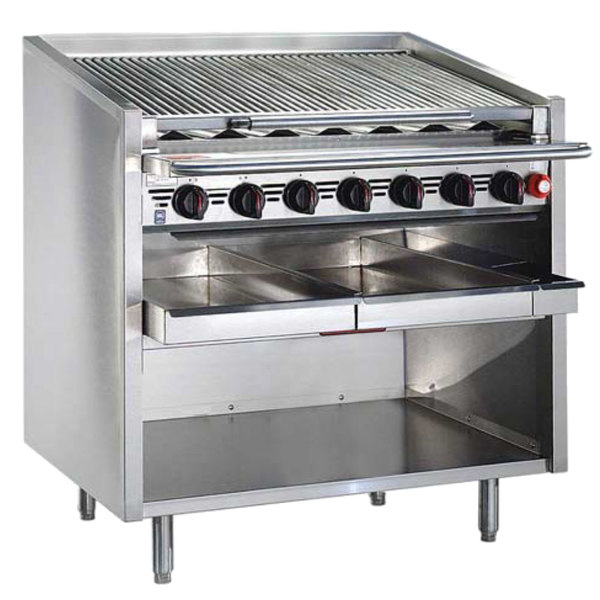 """MagiKitch'n FM-RMBSS-672-H 72"""" Liquid Propane High Output Stainless Steel Radiant Charbroiler with Open Base - 320,000 BTU"""