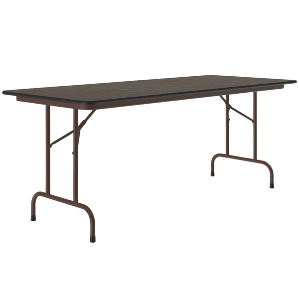 "Correll CF2496M01 24"" x 96"" Rectangular Walnut Light Duty Melamine Folding Table Main Image 1"