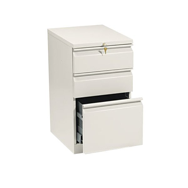 HON 33720RL Efficiencies Putty Three-Drawer Mobile Pedestal Filing Cabinet - 15 inch x 19 7/8 inch x 28 inch