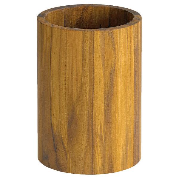 """Tablecraft CHTK557 5"""" Round Teak Cutlery Holder"""