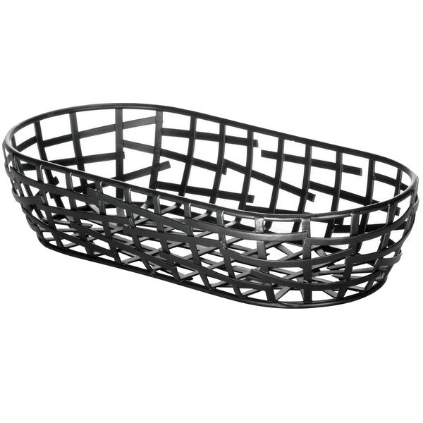 "Tablecraft BC1709 Complexity Collection Black Powder Coated Metal Oblong Basket - 9"" x 4"" x 2"""