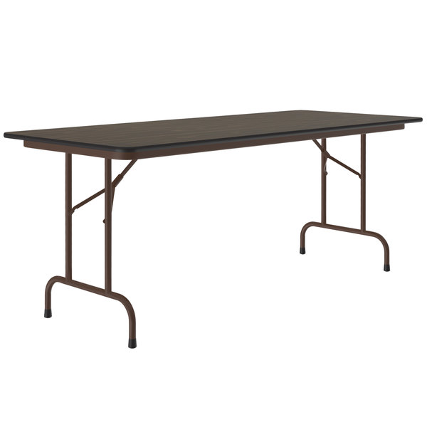 "Correll Folding Table, 24"" x 72"" Melamine Top, Walnut - CF2472M01 Main Image 1"
