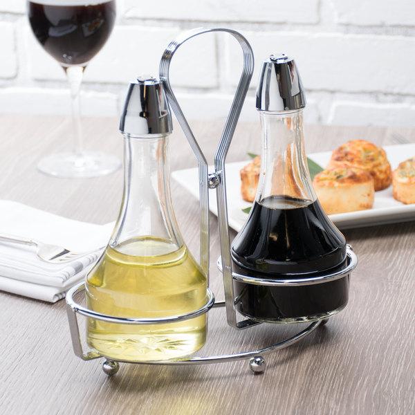 Tablecraft 608n Modern Sets 3 Piece Oil Vinegar Cruet Set With Chrome Rack
