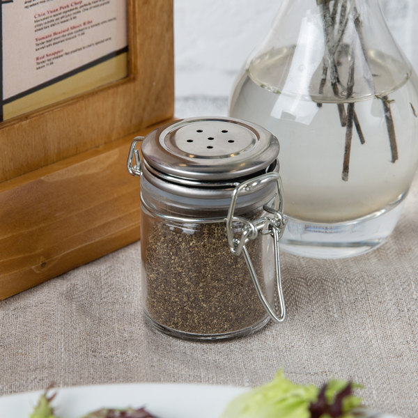 Tablecraft H15S&P 1.5 oz. Resealable Salt and Pepper Shaker Glass Jar with Stainless Steel Clip-Top Lid Main Image 7