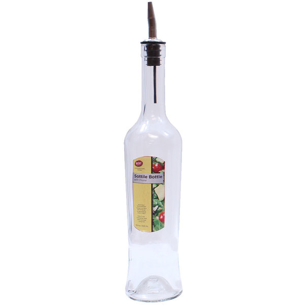 Tablecraft H933 Sottile 17 oz. Clear Glass Bottle with Stainless Steel Pourer