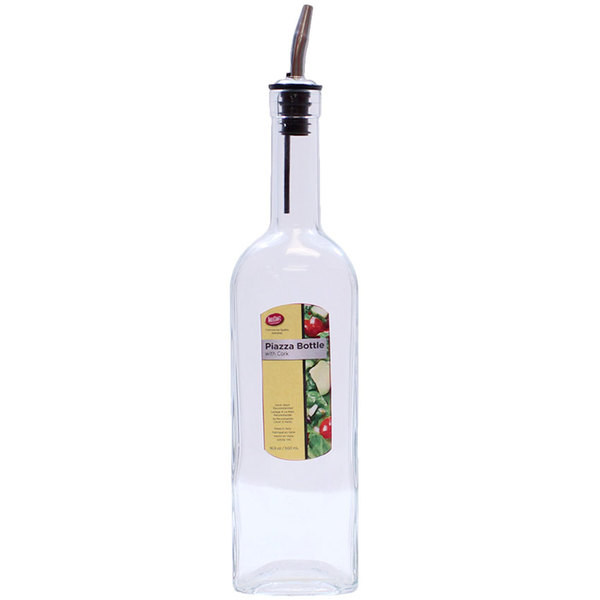 Tablecraft H716 Piazza 17 oz. Clear Glass Bottle with Stainless Steel Pourer