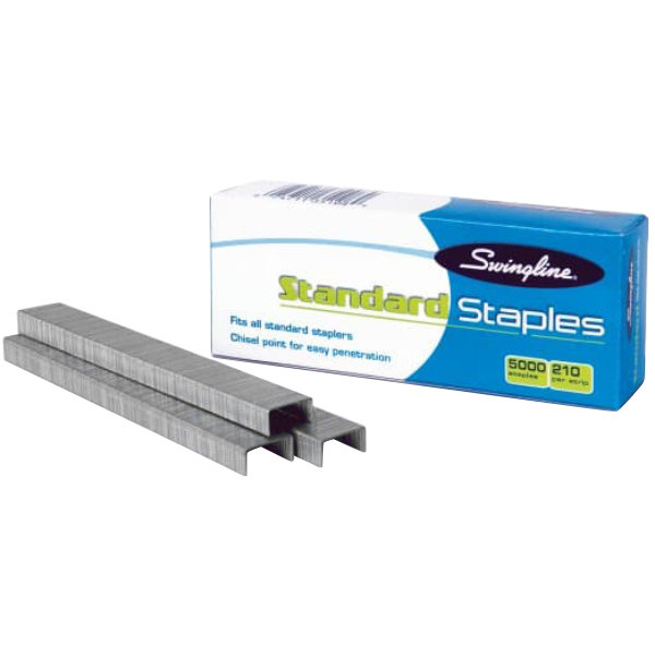 "Swingline 35108 S.F. 1 210 Strip Count 1/4"" Standard Economy Chisel Point Staples - 5000/Box"
