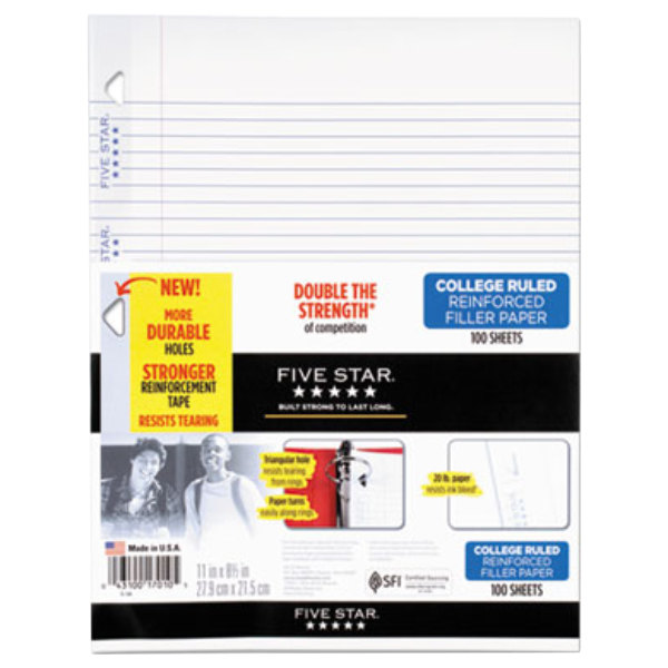 """Mead 17010 Five Star 8 1/2"""" x 11"""" White Pack of Reinforced College Rule Filler Sheet - 100 Sheets Main Image 1"""