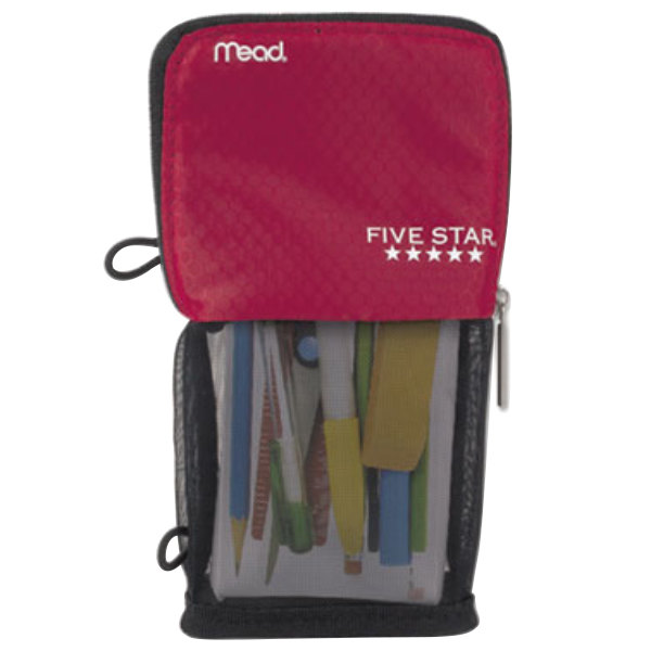 """Mead 73991 4 1/2"""" x 8"""" Red Stand 'N Store Pencil Pouch"""