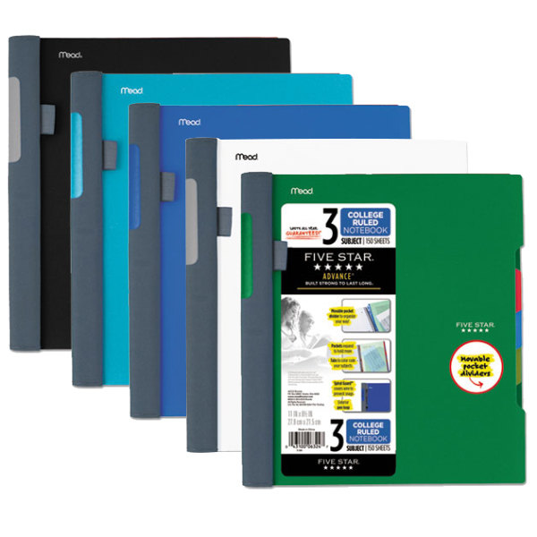 "Five Star 06324 Advance Wirebound Assorted Color 11"" x 8 1/2"" College Ruled 3 Subject Notebook - 150 Sheets"