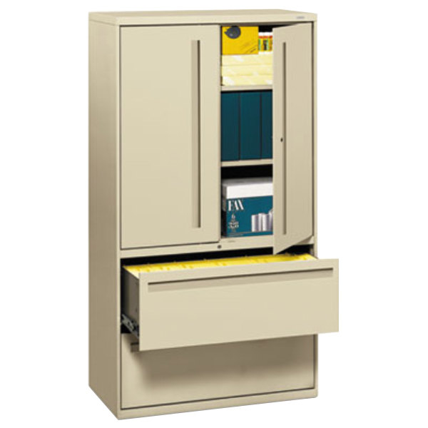 "HON 785LSL 700 Series Putty Storage Cabinet with Two Lateral Filing Drawers - 36"" x 19 1/4"" x 67"""