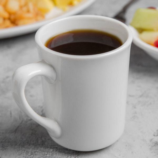 World Tableware 840-125-002 Porcelana 8.5 oz. Bright White Porcelain Kona Mug - 36/Case Main Image 3