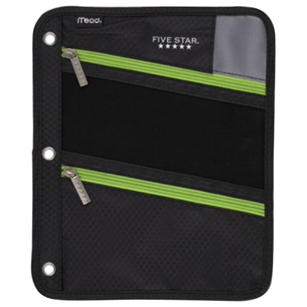 """Mead MEA50642BF7 8 3/4"""" X 11"""" Black Pencil Pouch With Lime"""