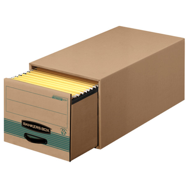"Banker's Box 1231201 25 1/2"" x 16 3/4"" x 11 1/2"" Kraft / Green Legal Sized Heavy-Duty Corrugated Fiberboard Storage Drawer with Steel Frame - 6/Case"