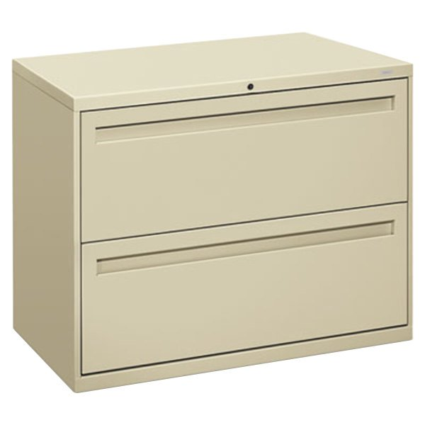 "HON 782LL 700 Series Putty Two-Drawer Lateral Filing Cabinet - 36"" x 19 1/4"" x 28 3/8"""