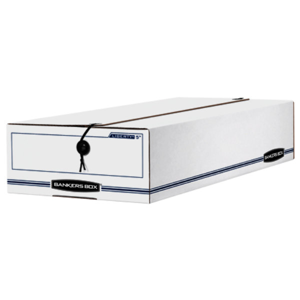 """Fellowes 00006 Banker's Box 9"""" x 23 1/4"""" x 5 3/4"""" Check / Deposit Slip Storage Box with String & Button Closure - 12/Case Main Image 1"""