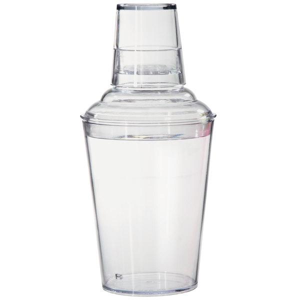 GET SH-175-1-CL Cheers 17.5 oz. Customizable Clear SAN Plastic 3-Piece Cobbler Cocktail Shaker Main Image 1