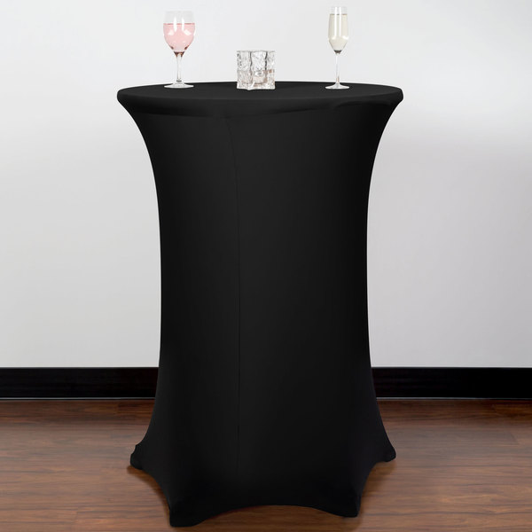 "Snap Drape CC30R42-BLACK Contour Cover 30"" Round Black Bar Height 5 Feet Spandex Table Cover"