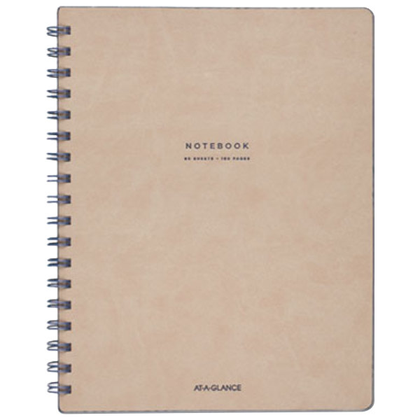 "At-A-Glance YP14207 Collection Twinwire Tan / Navy Blue 9 1/2"" x 7 1/4"" Legal Ruled Notebook - 80 Sheets"