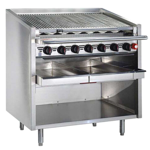 """MagiKitch'n FM-RMBCR-630-H 30"""" Liquid Propane High Output Cast Iron Radiant Charbroiler with Open Base - 120,000 BTU"""
