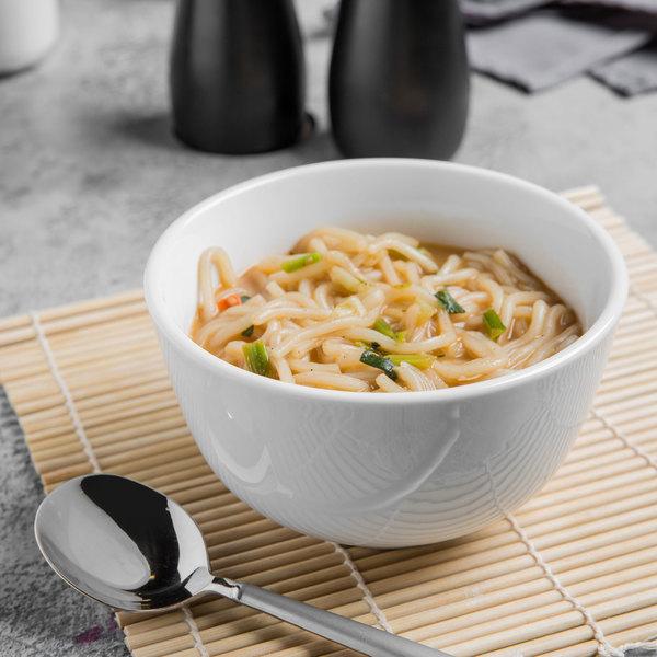 World Tableware 840-355-011 Porcelana 19 oz. Bright White Porcelain Noodle Soup Bowl - 36/Case Main Image 3