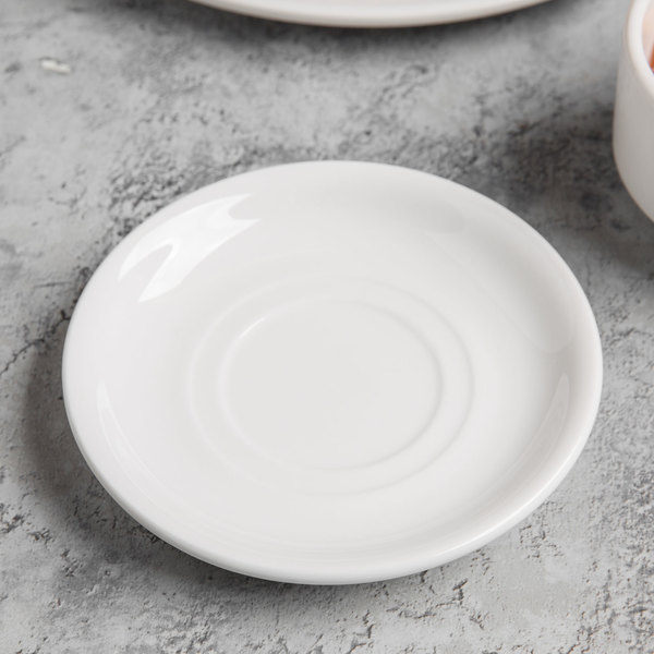 """World Tableware 840-215-005 Porcelana 5 1/2"""" Bright White Double Well Porcelain Saucer - 36/Case Main Image 3"""