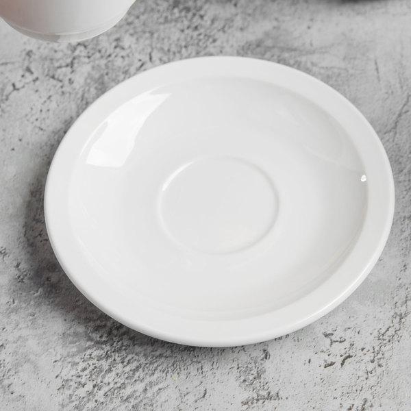 "World Tableware 840-245-107 Porcelana 4 3/4"" Bright White Porcelain AD Saucer - 36/Case Main Image 3"