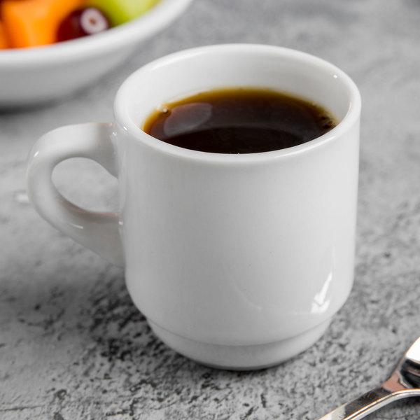 World Tableware 840-145-006 Porcelana 3.5 oz. Bright White Tall Porcelain Espresso Cup - 36/Case Main Image 3