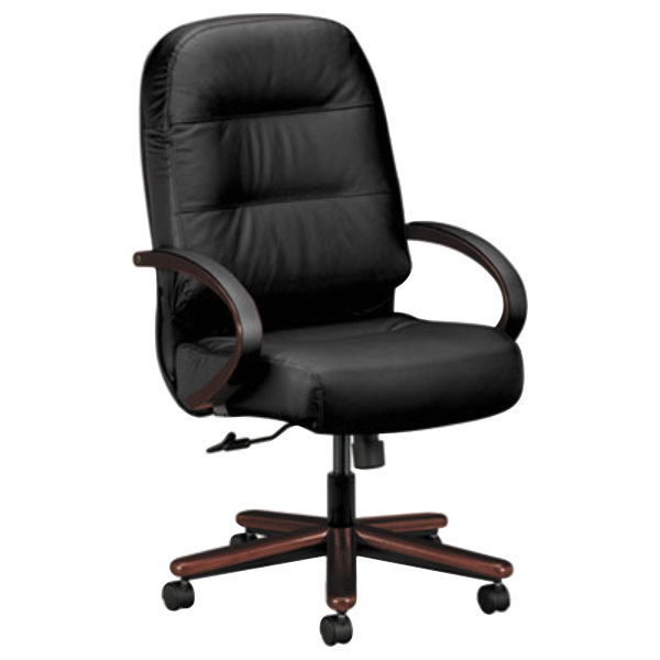 HON 2191NSR11 Pillow-Soft Mahogany/Black High Back Leather Executive Chair with Casters Main Image 1