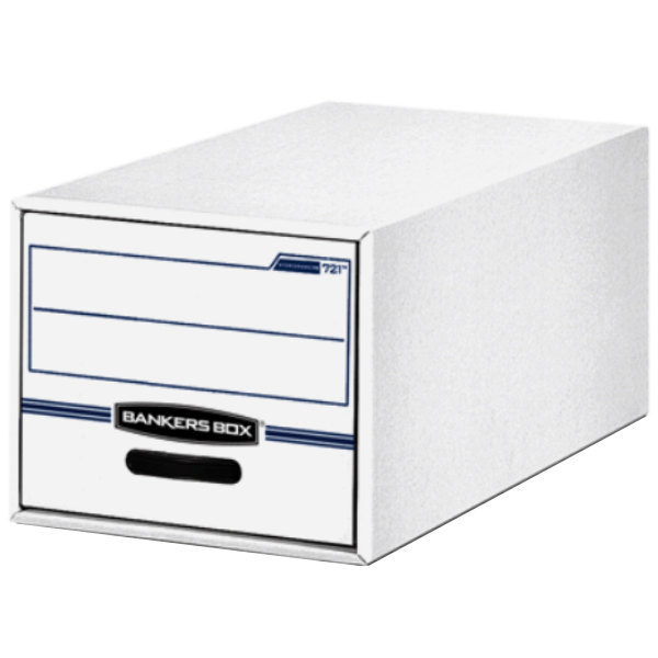 "Fellowes 00721 14"" x 25 1/2"" x 11 1/2"" White/Blue Letter Sized Corrugated Fiberboard File Storage Drawer - 6/Case"