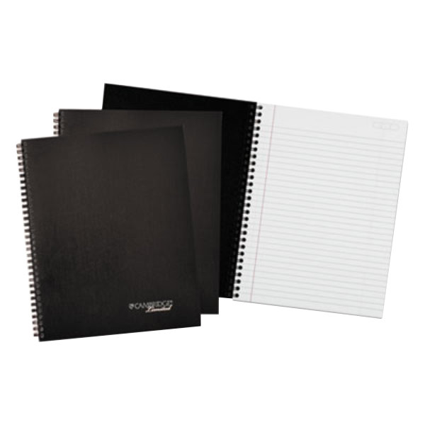 "Cambridge Limited 45012 Wirebound Black 9 1/2"" x 7 1/4"" Legal Ruled Business Notebook - 3/Pack"