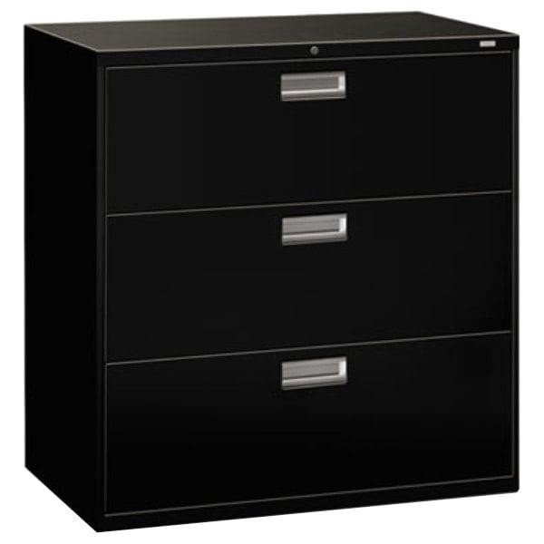 "HON 693LP 600 Series Black Three-Drawer Lateral Filing Cabinet - 42"" x 19 1/4"" x 40 7/8"""
