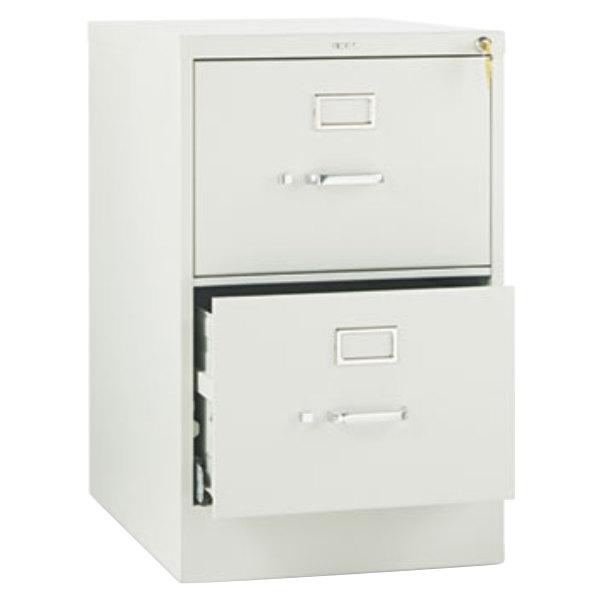 "HON 512CPQ 510 Series Light Gray Full-Suspension Two-Drawer Filing Cabinet - 18 1/4"" x 25"" x 29"""