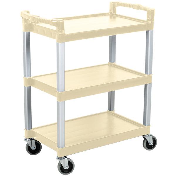 "Continental 5810BE 16"" x 31"" x 36"" Beige Three Shelf Utility Cart"