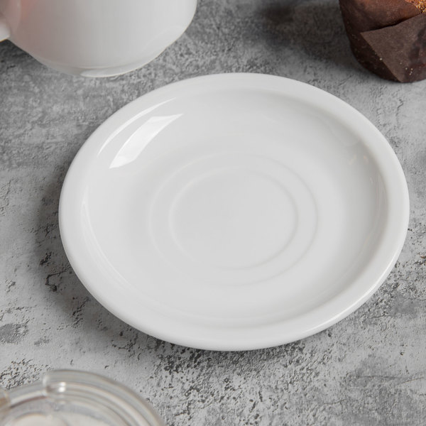 World Tableware 840-205-006 Porcelana 6  Bright White Double Well Porcelain Saucer - 36/Case & World Tableware 840-205-006 Porcelana 6