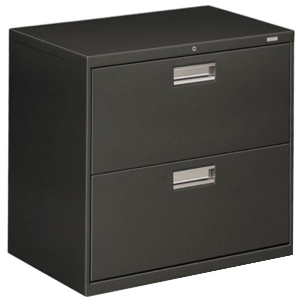 "HON 672LS 600 Series Charcoal Two-Drawer Lateral Filing Cabinet - 30"" x 19 1/4"" x 28 3/8"" Main Image 1"