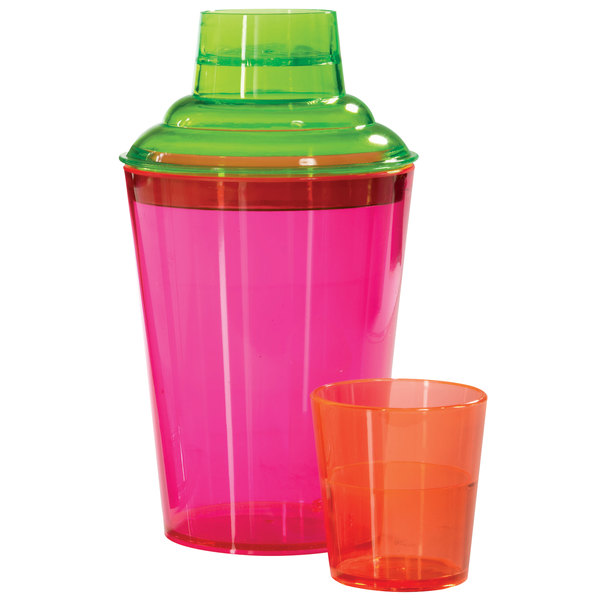 GET SH-175-NEON Cheers 17.5 oz. Customizable Neon SAN Plastic 3-Piece Cobbler Cocktail Shaker Main Image 1