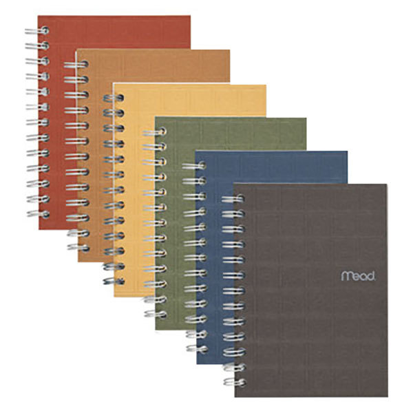 "Mead 45186 7"" x 5"" Assorted Color College Rule 1 Subject Recycled Notebook - 80 Sheets"